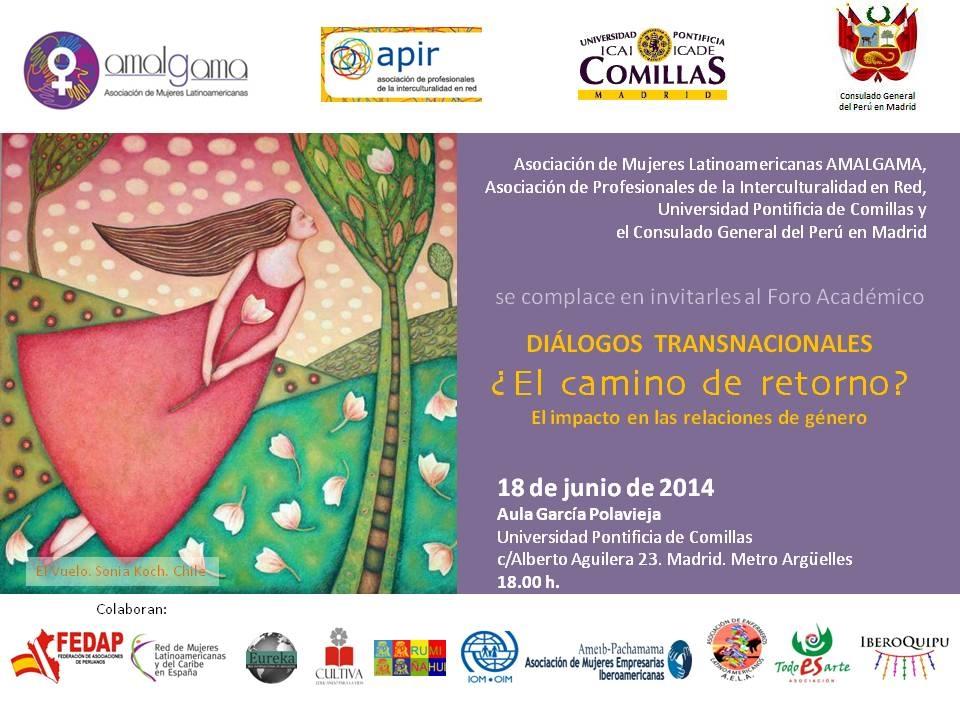 Foro Académico: DIALOGOS TRANSNACIONALES ¿El CAMINO DE RETORNO? Dicho evento tendrá lugar el 18 de junio de 2014
