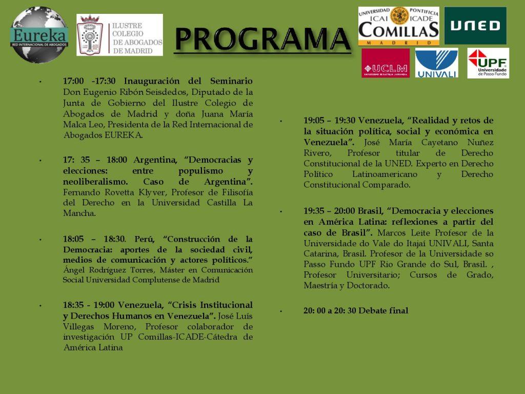 Seminario democracia y procesos electorales en Latinoamérica