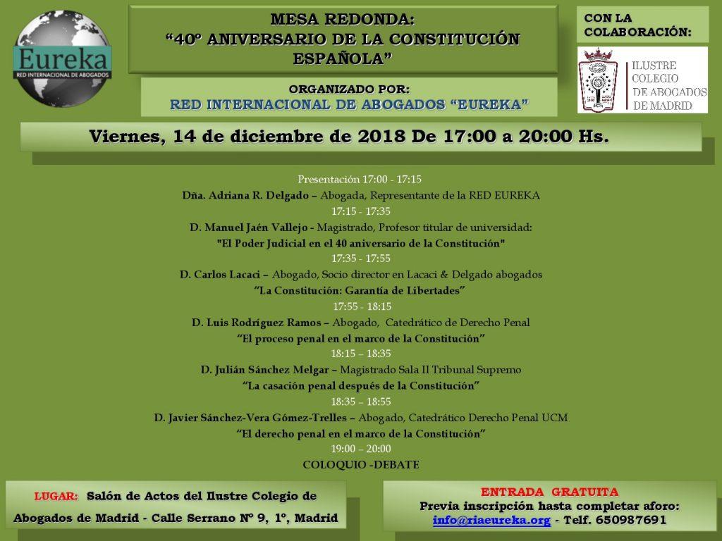 Mesa redonda: 40 Aniversario de la Constitución española