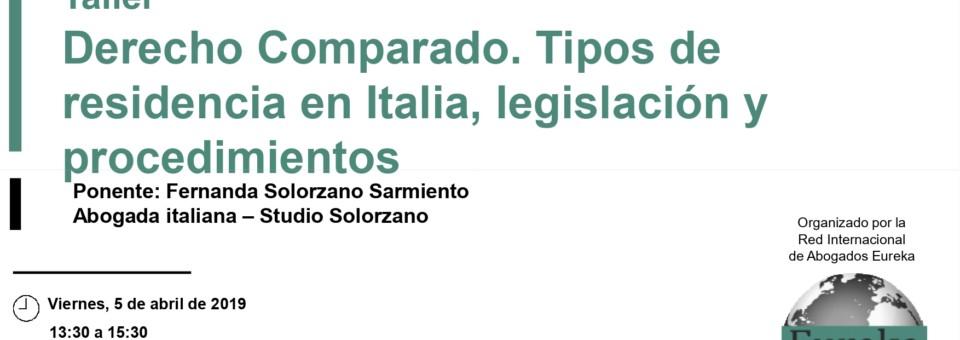 Taller Derecho Comparado. Tipos de residencia en Italia,legislación y procedimientos